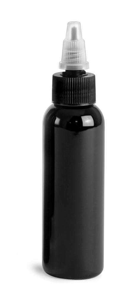 Black PET Cosmo Round Bottles w/ Black / Natural Twist Top Caps