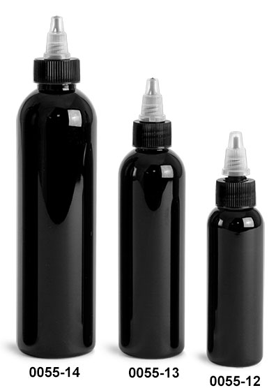 Plastic Bottles, Black PET Cosmo Round Bottles w/ Black / Natural Twist Top Caps