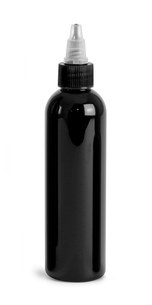 Black PET Cosmo Round Bottles w/ Black / Natural Twist Top Caps