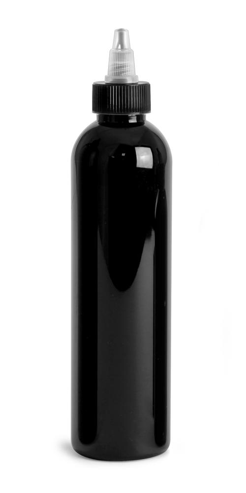 8 oz Black PET Cosmo Round Bottles w/ Black / Natural Twist Top Caps