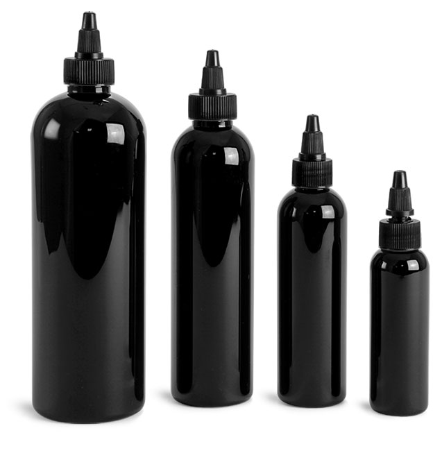 PET Plastic Bottles, Black Cosmo Round Bottles w/ Black Twist Top Caps