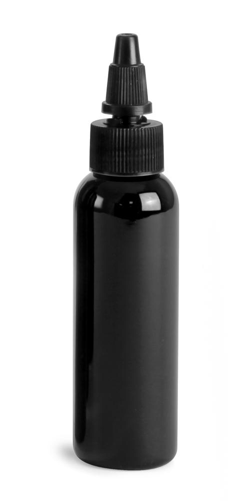 2 oz Black PET Cosmo Round Bottles w/ Black Twist Top Caps