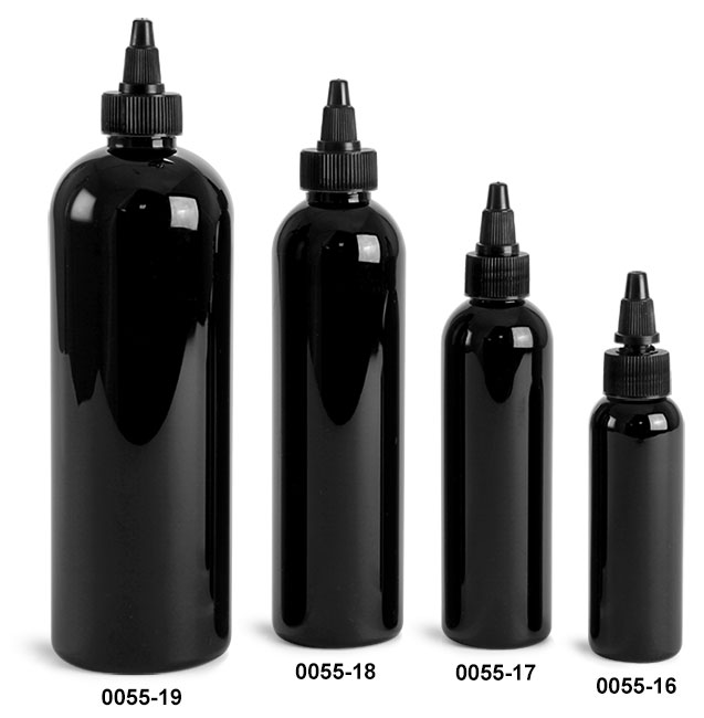 Plastic Bottles, Black PET Cosmo Round Bottles w/ Black Twist Top Caps