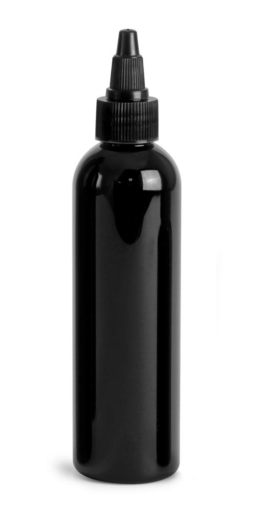 4 oz Black PET Cosmo Round Bottles w/ Black Twist Top Caps