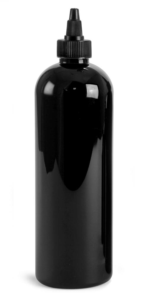 16 oz Black PET Cosmo Round Bottles w/ Black Twist Top Caps