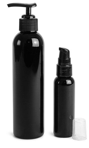 PET Plastic Bottles, Black Cosmo Round Bottles w/ Black Lotion Pumps