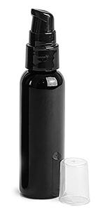 Black PET Cosmo Round Bottles w/ Black Treatment Pumps