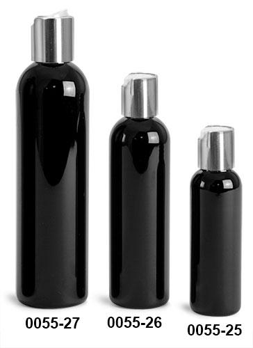 Plastic Bottles, Black PET Cosmo Round Bottles w/ Silver Disc Top Caps