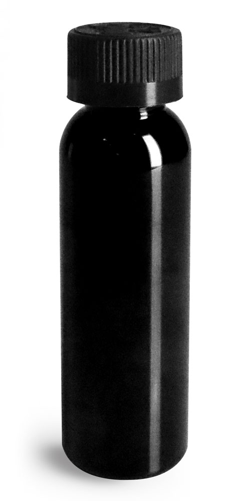 2 oz Plastic Bottles, Black PET Cosmo Round Bottles w/ Black Child Resistant Caps