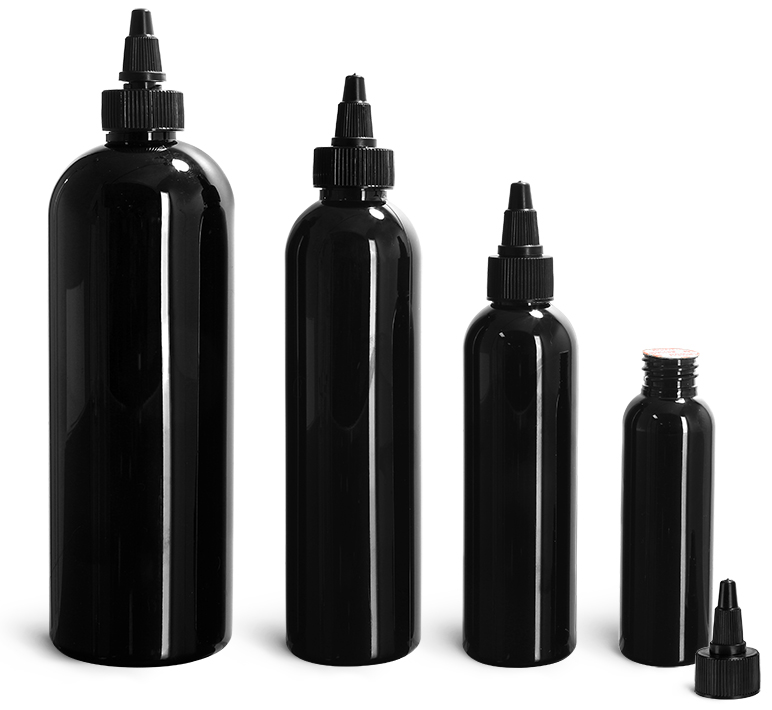 PET Plastic Bottles, Black Cosmo Round Bottles w/ Black Induction Lined Twist Top Caps
