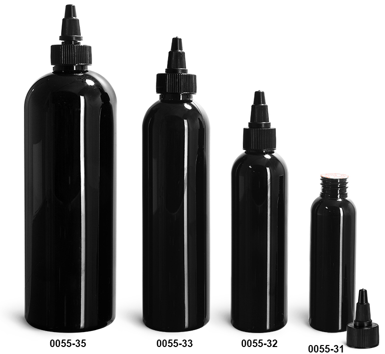Plastic Bottles, Black PET Cosmo Round Bottles w/ Black Induction Lined Twist Top Caps