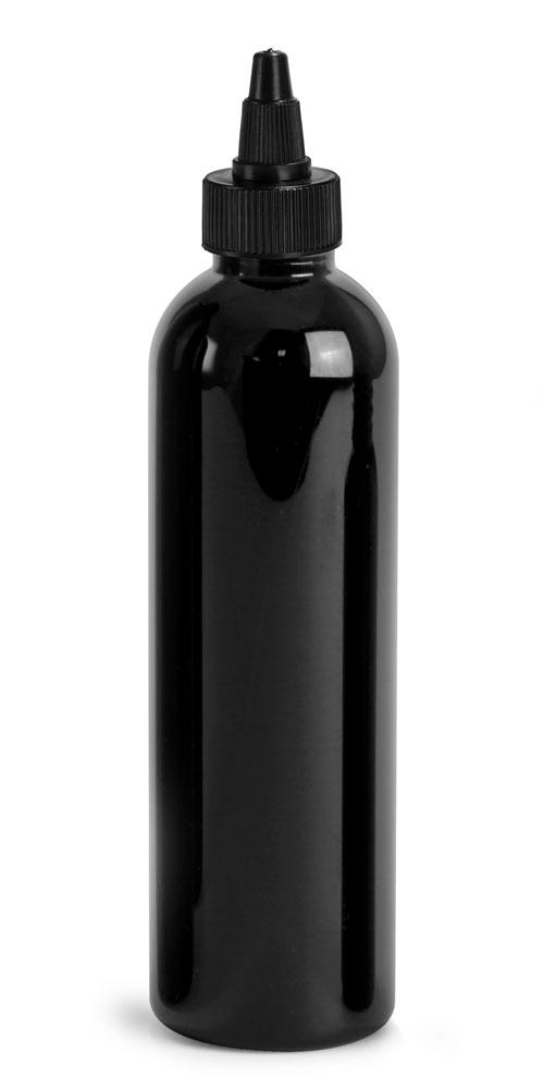 4 oz Plastic Bottles, Black PET Cosmo Rounds w/ Black Induction Lined Twist Top Caps