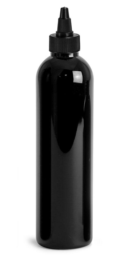 8 oz Plastic Bottles, Black PET Cosmo Rounds w/ Black Induction Lined Twist Top Caps