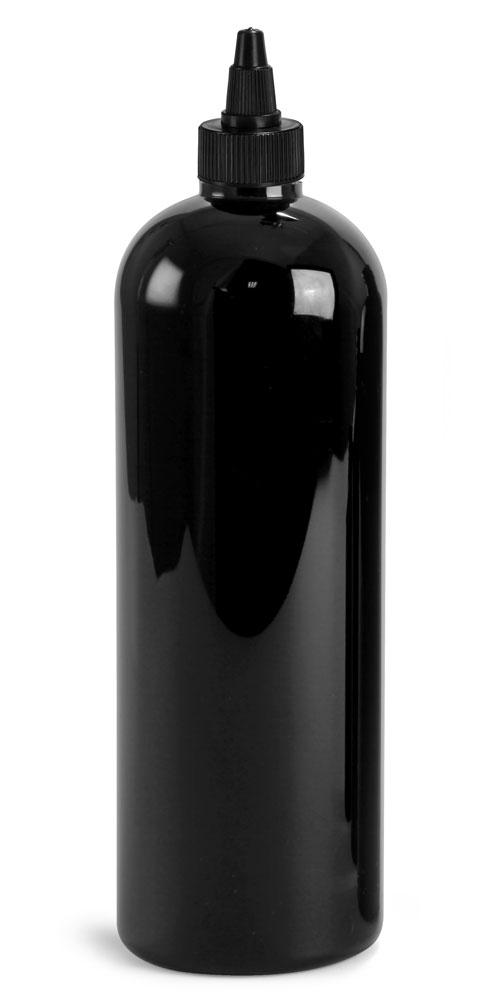 16 oz Plastic Bottles, Black PET Cosmo Rounds w/ Black Induction Lined Twist Top Caps
