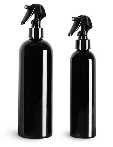 PET Plastic Bottles, Black Cosmo Round Bottles w/ Black Mini Trigger Sprayers