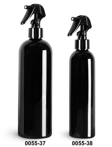 Plastic Bottles, Black PET Cosmo Round Bottles w/ Black Mini Trigger Sprayers