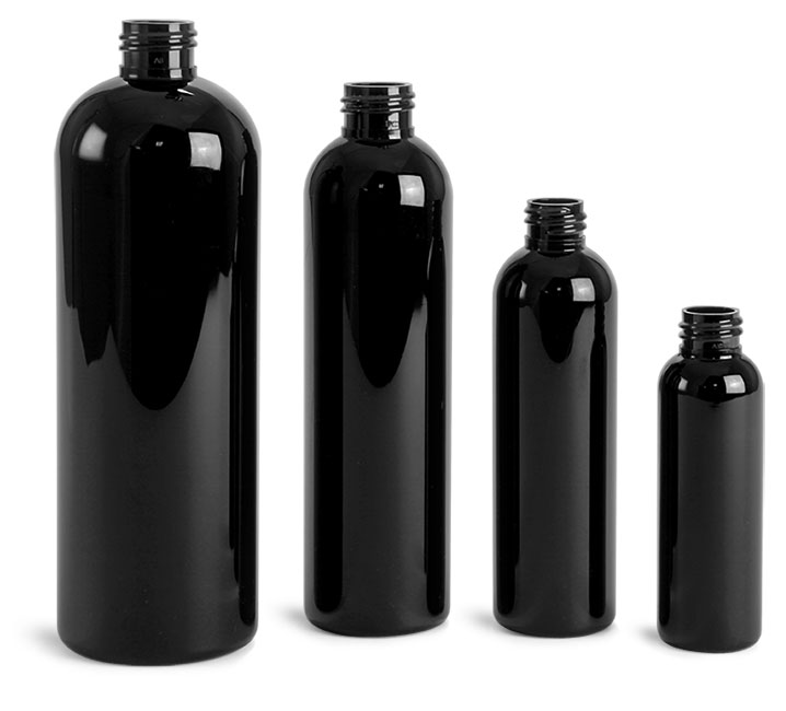 16 oz  Black PET Cosmo Round Bottles (Bulk), Caps NOT Included