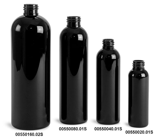 Plastic Bottles, Black PET Cosmo Rounds (Bulk), Caps NOT Included