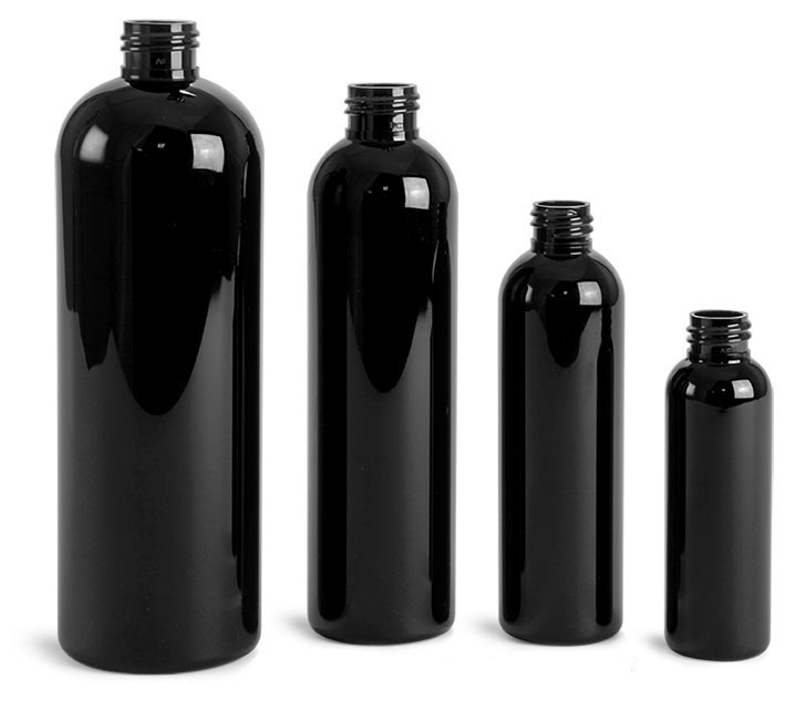 Black PET Cosmo Round Bottles (Bulk), Caps NOT Included