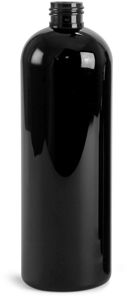 Black PET Cosmo Round Bottles (Bulk), Caps NOT Included