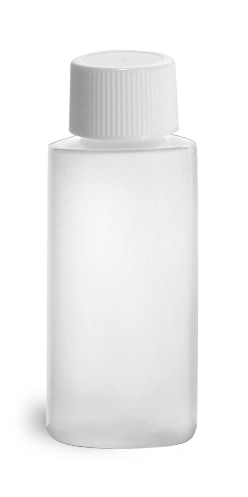 HDPE Plastic Bottles, Natural Cylinder Bottles w/ White Lined Screw Caps