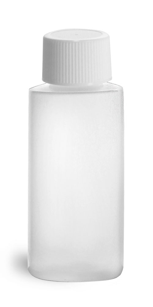 1 oz Natural HDPE Cylinder Round Bottles w/ White Lined Screw Caps