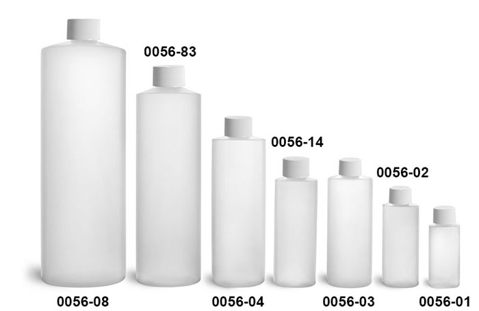 Plastic Bottles, Natural HDPE Cylinder Bottles w/ White Lined Screw Caps