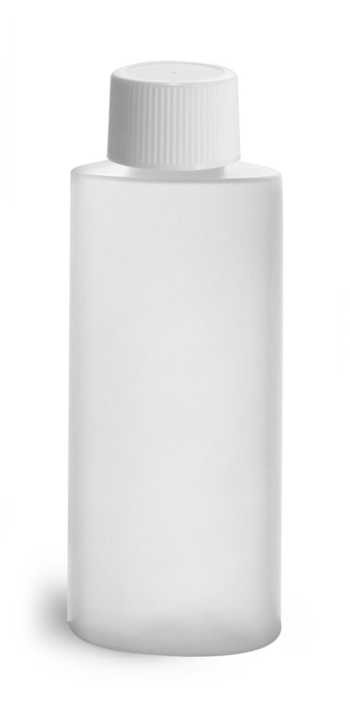 2 oz Natural HDPE Cylinder Round Bottles w/ White Lined Screw Caps
