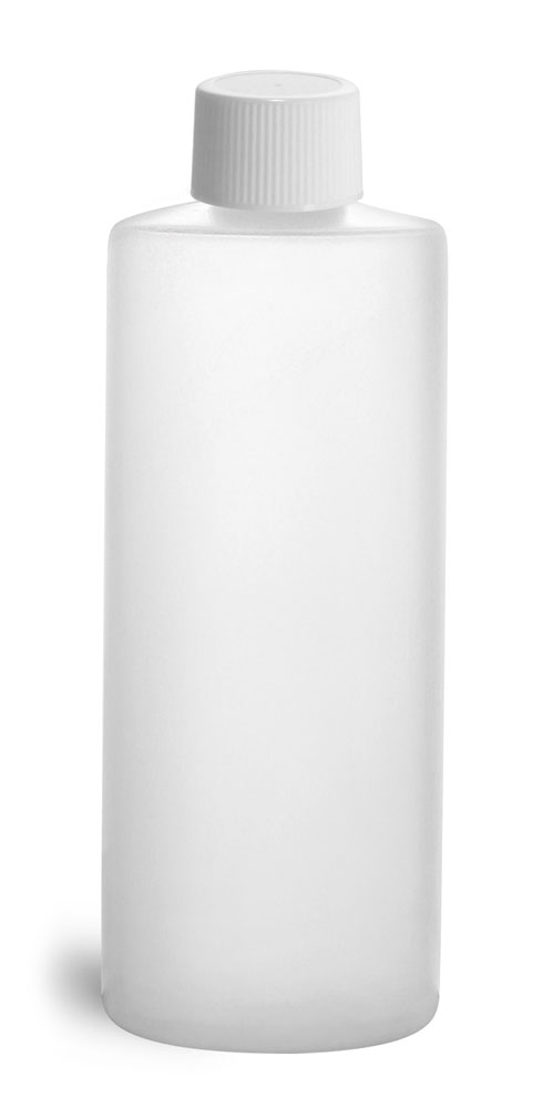 4 oz Natural HDPE Cylinder Round Bottles w/ White Lined Screw Caps