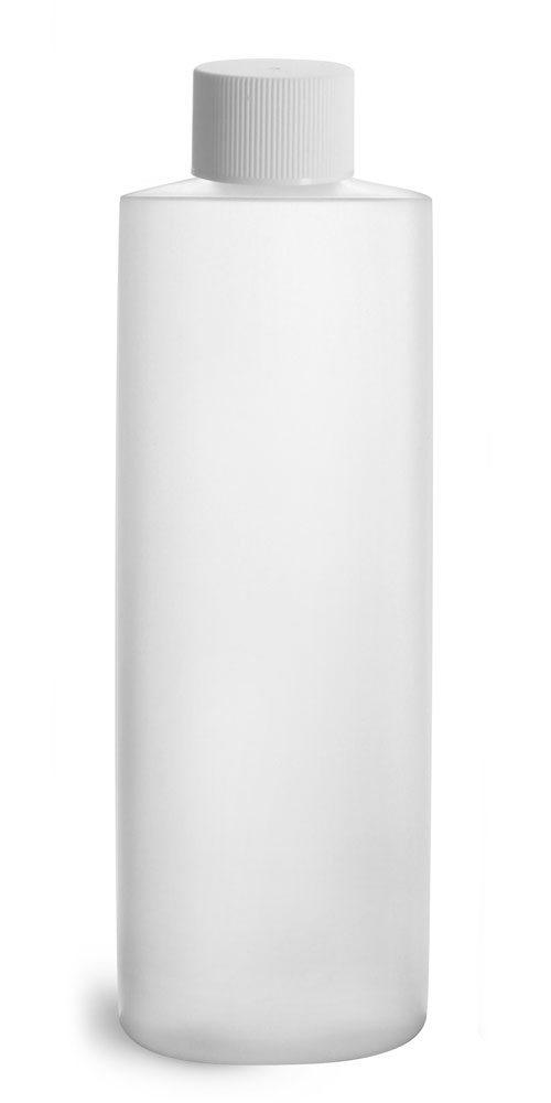 8 oz Natural HDPE Cylinder Round Bottles w/ White Lined Screw Caps