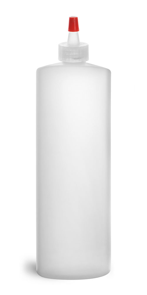 32 oz Natural HDPE Cylinders w/ Natural LDPE Yorker Spout Caps w/ Red Tips