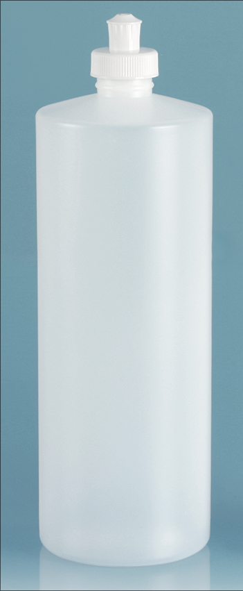 HDPE Plastic Bottles, Natural Cylinder Bottles w/ White Push/Pull Caps