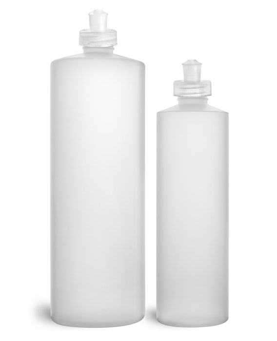 HDPE Plastic Bottles, Natural Cylinder Bottles w/ Natural Push/Pull Caps