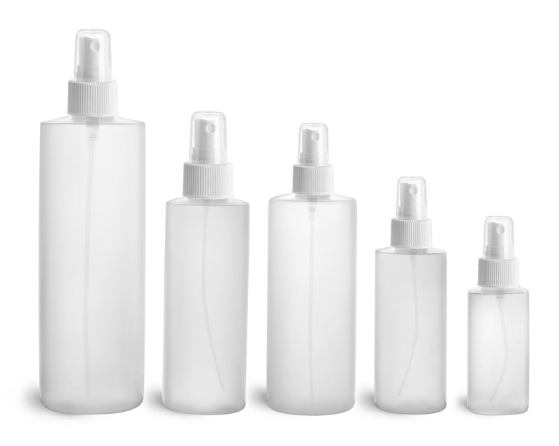 HDPE Plastic Bottles, Natural Cylinder Bottles w/ White Fine Mist Sprayers