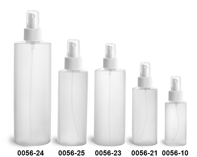 Plastic Bottles, Natural HDPE Cylinders w/ White Fine Mist Sprayers
