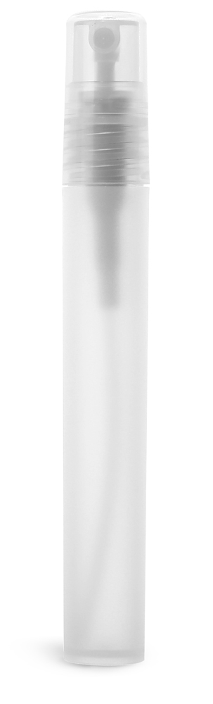 10 ml Natural Frosted Polypro Mini Cylinder with Natural Fine Mist Sprayer and Overcap (Bulk)