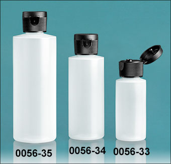 Plastic Bottles, Natural HDPE Cylinder Bottles With Black Ribbed Snap Caps