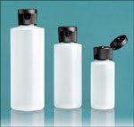 HDPE Plastic Bottles, Natural Cylinder Bottles w/ Black Ribbed Snap Caps