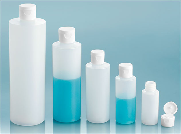 HDPE Plastic Bottles, Natural Cylinder Bottles w/ White Ribbed Snap Caps