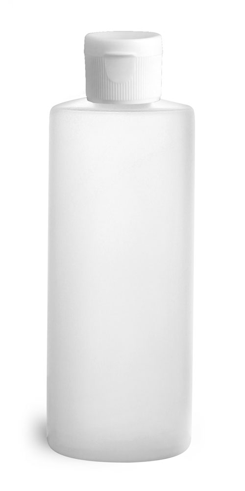 4 oz Natural HDPE Cylinders w/ White Ribbed Snap Caps