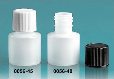 Plastic Bottles, Natural HDPE 7cc Rounds w/ Caps
