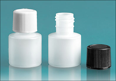 LDPE Plastic Bottles, Natural Cylinder Bottles w/ Black Screwcap