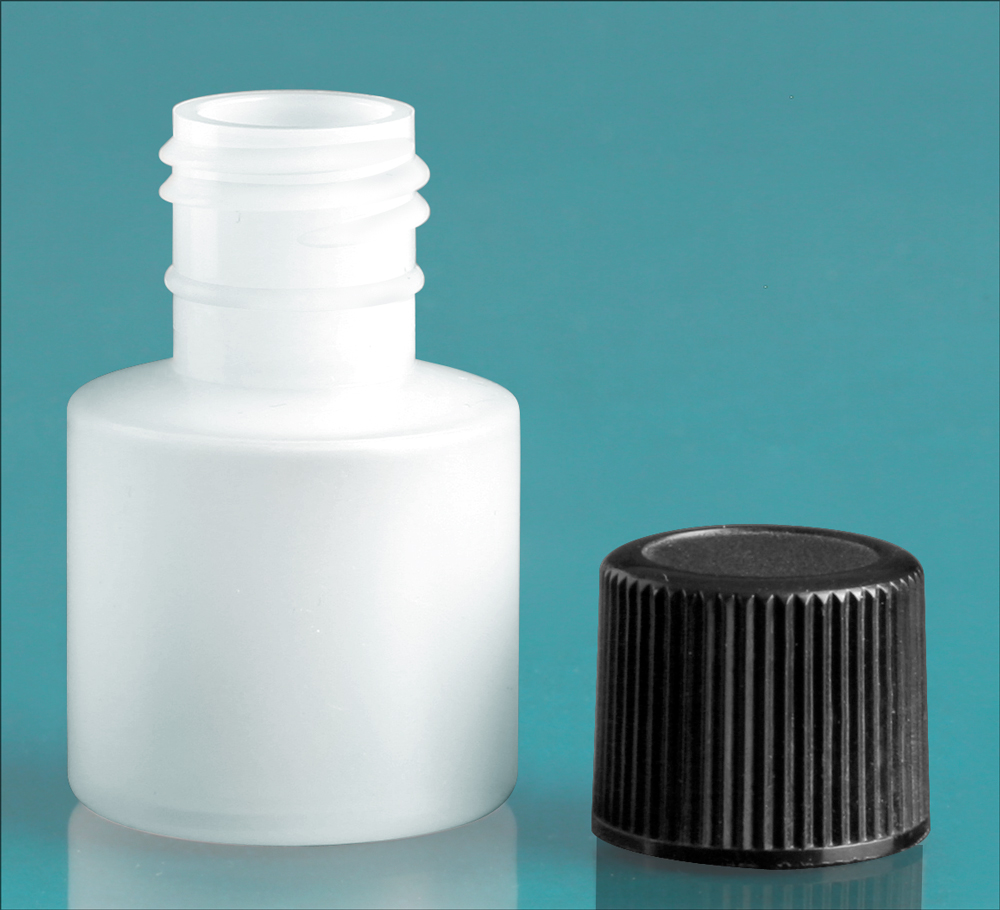 7 cc w/ Black Cap Natural Cylinder w/ Black Screwcap