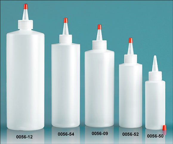 Plastic Bottles, Natural HDPE Cylinder Rounds w/ Long Tip Spout Caps with .030 hole