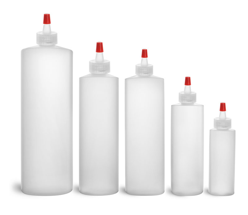 HDPE Plastic Bottles, Natural Cylinder Bottles w/ Long Tip Spout Caps w/ .030 hole