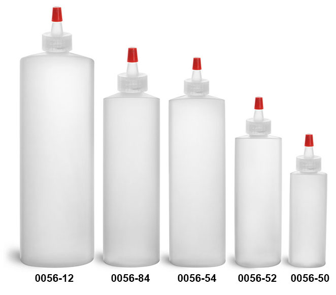 Plastic Bottles, Natural HDPE Cylinder Bottles w/ Long Tip Spout Caps With .030 Hole