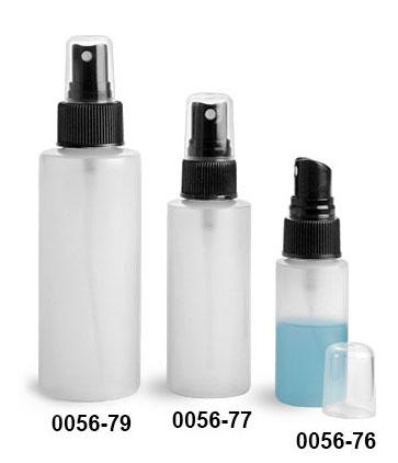 Plastic Bottles, Natural HDPE Cylinder Bottles w/ Black Fine Mist Sprayers