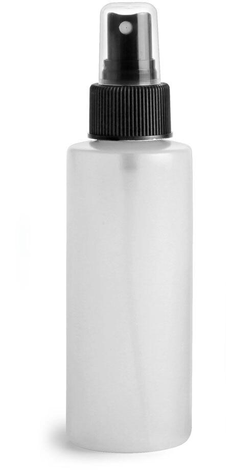 Natural HDPE Cylinders w/ Black Fine Mist Sprayers
