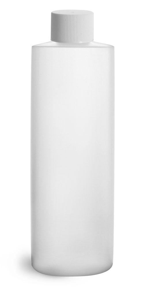 16 oz Plastic Bottles, Natural HDPE Cylinder Bottles w/ White Lined Screw Caps