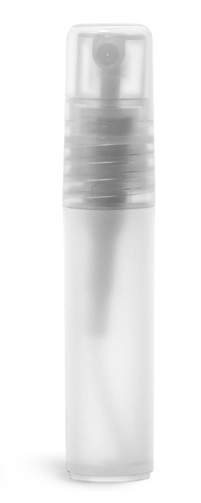 5 ml Plastic Vials, Natural Frosted Polypropylene Mini Cylinders w/ Natural Fine Mist Sprayers and Overcaps